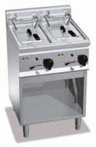 Friggitrice Elettrica Su Mobile Capacità 10 + 10 Lt High Power Profondità 60 cm