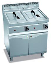 Friggitrice Professionale A Gas Su Mobile Capacità 10 + 10 Lt Profondità 70 cm