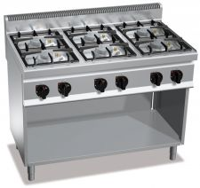 Cucina Professionale 6 Fuochi Eco Power Profondità 70 cm