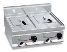 Friggitrice Elettrica Professionale Da Banco Capacità 10 + 10 Lt Profondità 70 cm