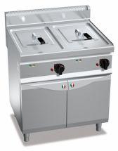 Friggitrice Elettrica Professionale Su Mobile Capacità 10 + 10 Lt Profondità 70 cm