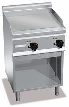 FryTop Elettrico Su Mobile Con Doppia Piastra Liscia In Cromo Duro Profondità 60 cm
