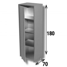 Armadio Acciaio Inox Inox AISI 304 Porta A Battente Profondità 70 cm Altezza 180 cm