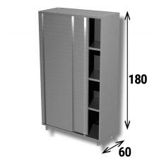 Armadio Acciaio Inox Inox AISI 304 Porte Scorrevoli Profondità 60 cm Altezza 180 Cm