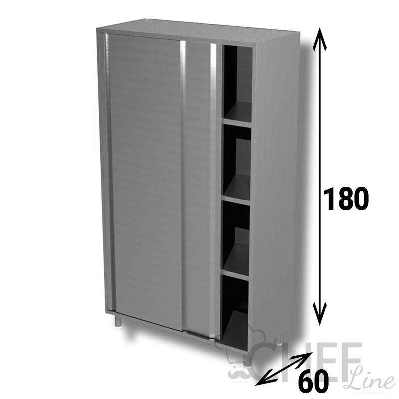 Armadio In Acciaio Inox.Armadio Acciaio Inox Porte Scorrevoli Profondita 60 Altezza 180 Chefline
