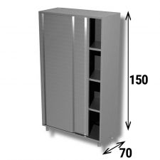 Armadio Acciaio Inox AISI 304 Porte Scorrevoli Profondità 70 cm Altezza 150 cm