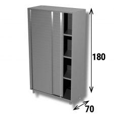 Armadio Acciaio Inox AISI 304 Porte Scorrevoli Profondità 70 cm Altezza 180 cm