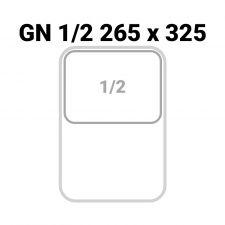 Rappresentazione dimensioni bacinella 1/2 GN (L 26,5 x P 32,5 x H 15 cm)