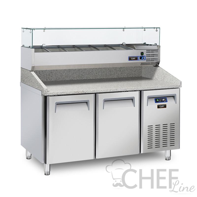Immagine banco pizza professionale CHPZ2P con vetrinetta ingredienti CHVI1538 Chefline