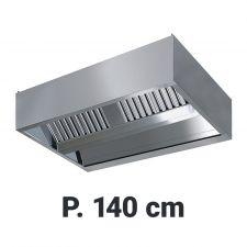 Cappa  Professionale Sospesa Per Cucine Con Isola Profondità 140 cm Senza Motore