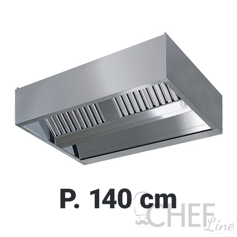Cappa Aspirazione Professionale Sospesa Per Cucine Con Isola Profondità 140  cm Senza Motore