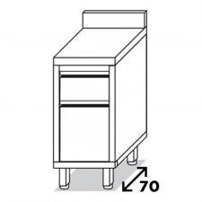 Cassettiera 2 Cassetti 1/3 - 2/3 e Alzatina In Inox Eko Profondità 70 cm