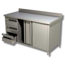 Tavolo Armadiato Acciaio Inox Linea Eko Misure 150x70 cm Con Porte, 3 Cassetti SX e Alzatina