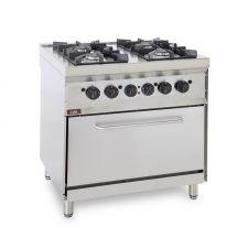 Cucina Professionale A Gas 4 Fuochi + Forno Elettrico