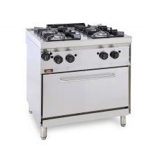 Cucina Professionale A Gas 4 Fuochi + Forno a Gas