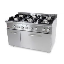 Cucina Professionale Gas 6 Fuochi + Forno Elettrico Profondità 70 cm
