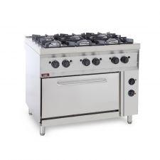Cucina Professionale A Gas 6 Fuochi + Forno Elettrico