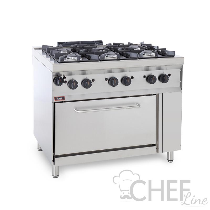 Cucina Professionale A Gas  6 Fuochi + Forno a Gas