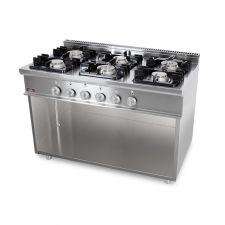 Cucina Professionale 6 Fuochi Gas Profondità 70 cm di Chefline