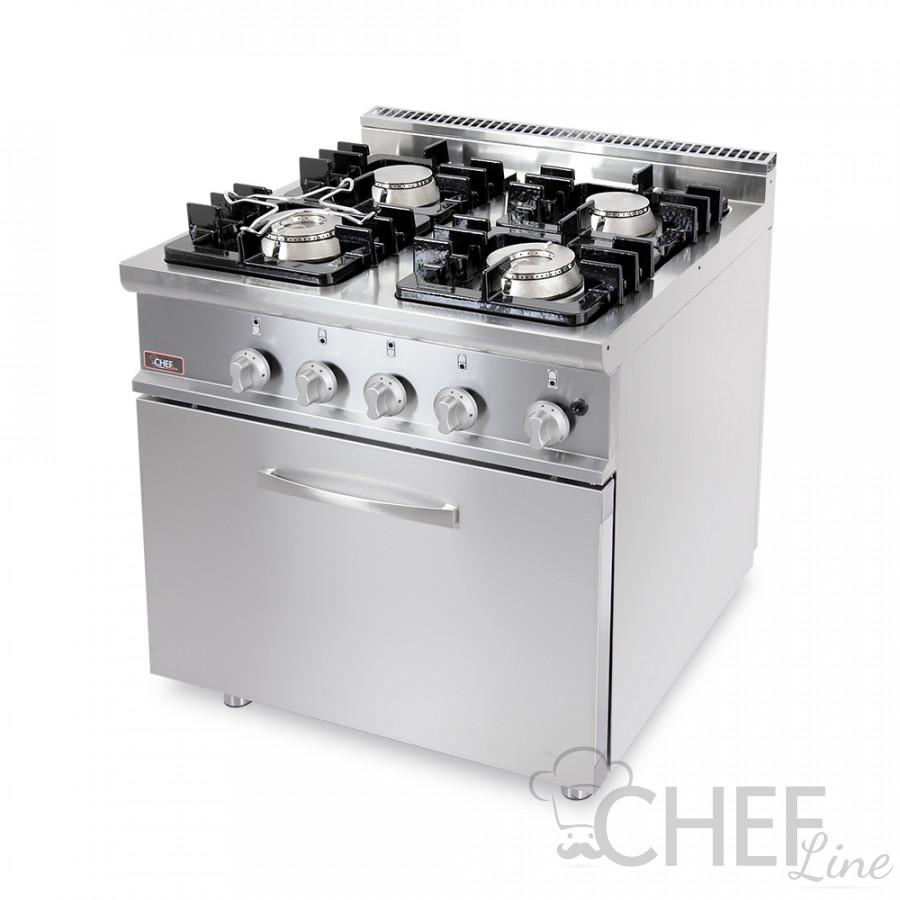Cucina Professionale 4 Fuochi Con Forno Gas Chefline