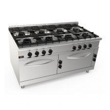 Cucina Professionale 8 Fuochi + 2 Forni Elettrici Profondità 90 cm