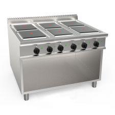 Cucina Elettrica Professionale 6 Piastre Quadre Profondità 90 cm