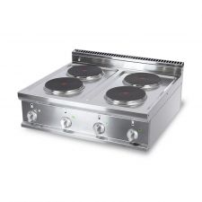 Cucina Elettrica Professionale 4 Piastre Tonde Banco Profondità 70 cm