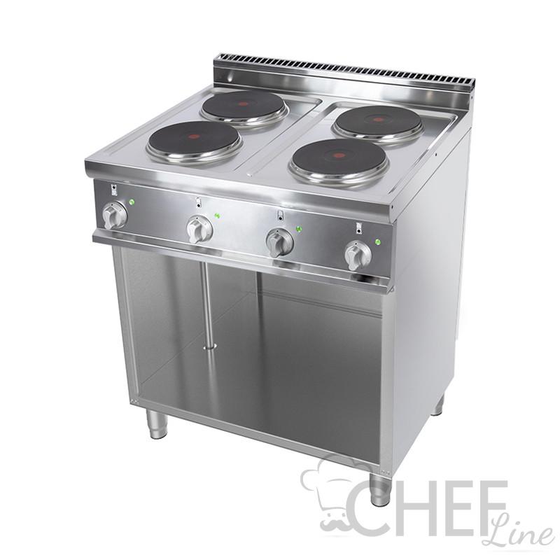 Cucina Elettrica Professionale 4 Piastre Tonde Profondità 70 cm