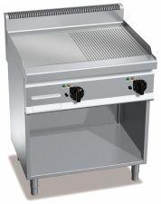 Fry Top A Gas Su Mobile Con Piastra doppia Liscia-Rigata Profondità 70 cm