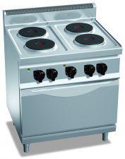 Cucina Elettrica Professionale 4 Piastre Tonde + Forno Elettrico Profondità 70 cm