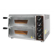 Forno Pizza Elettrico Baby Doppio 1 + 1 Pizze Diametro 34 Porta a Vetro