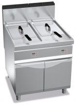 Friggitrice a Gas Professionale Elettronica 20 + 20 Lt Profondità 90 cm Chefline