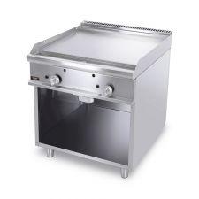 Fry Top A Gas Su Mobile Con Piastra Doppia Liscia Cromata Profondità 70 cm
