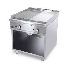 Fry Top A Gas Su Mobile Con Piastra Doppia Liscia-Rigata Cromata Profondità 70 cm