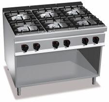 Cucina Professionale 6 fuochi Profondità 90 cm
