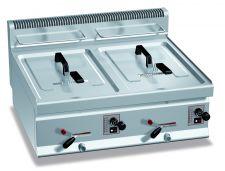 Friggitrice Professionale A Gas Da Banco Capacità 10 + 10 Lt Profondità 70 cm