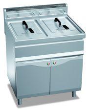Friggitrice Professionale A Gas Su Mobile Capacità 15 + 15 Lt Profondità 70 cm