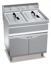 Friggitrice Professionale A Gas Su Mobile Capacità 20 + 20 Lt Profondità 70 cm