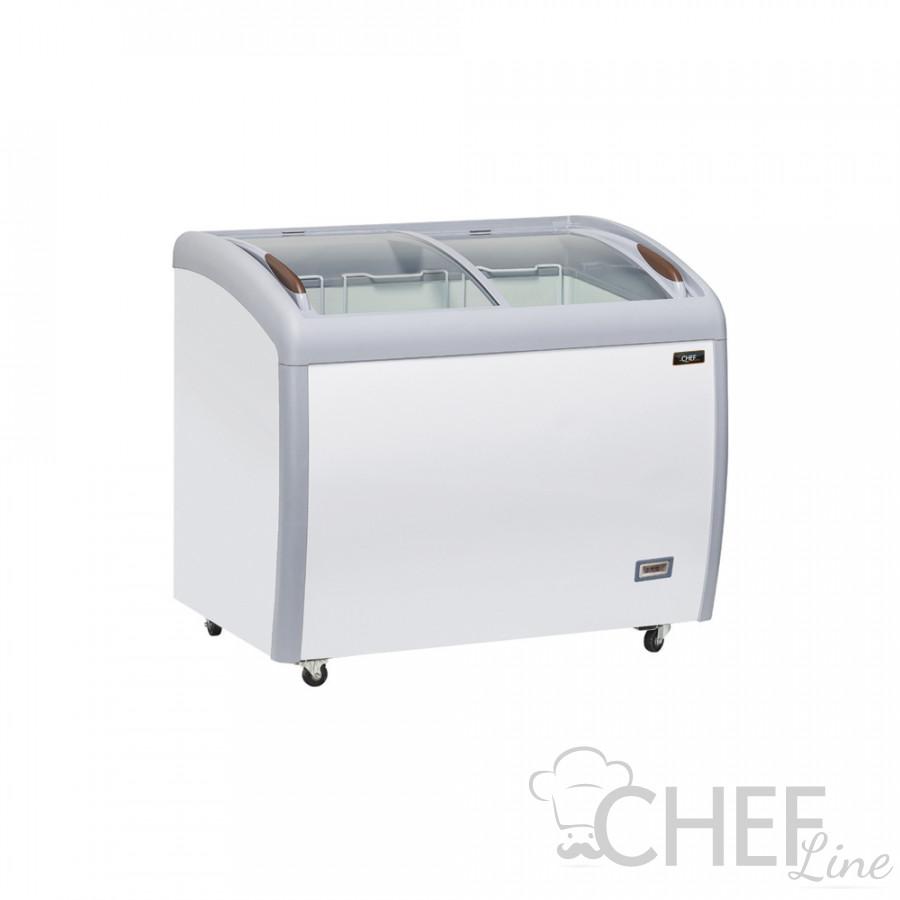 Congelatore Orizzontale a Pozzetto Professionale 300 Litri Con Porte a Vetro Curvo -18 / -22°C