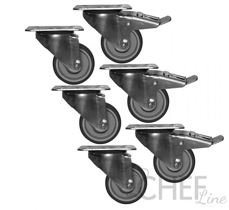 Immagine kit 6 ruote per tavoli frigo 4 porte Modelli CHTF