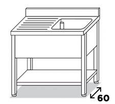 Lavatoio 1 Vasca Su Gambe Inox Eko Con Gocciolatoio Sinistro Pr. 60 cm