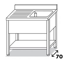 Lavatoio 1 Vasca Su Gambe Inox Eko Con Gocciolatoio Sinistro Pr. 70 cm