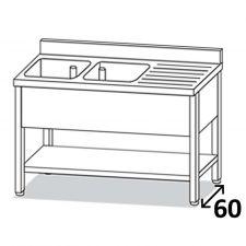 Lavatoio Su Gambe Inox Eko 2 Vasche Con Gocciolatoio DX Profondità 60 cm