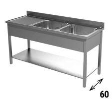 Immagine Lavello 2 Vasche Gocciolatoio Sinistro Pr. 60 cm