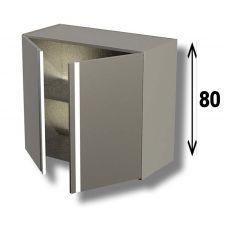 Pensile In Acciaio Inox AISI 304 Porta Battente Con 1 Ripiano Altezza 80 cm