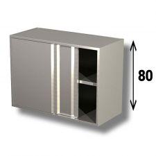 Pensile In Acciaio Inox AISI 304 Porte Scorrevoli Con 1 Ripiano Altezza 80 cm