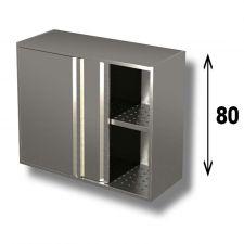 Pensile In Acciaio Inox AISI 304 Porte Scorrevoli Con 1 Ripiano Forato Altezza 80 cm