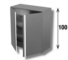 Pensile In Acciaio Inox AISI 304 Porta Battente Con 2 Ripiani Altezza 100 cm