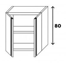 Pensile Inox Eko Porta Battente Con 1 Ripiano Altezza 80 cm