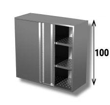 Pensile In Acciaio Inox AISI 304 Porte Scorrevoli Con 2 Ripiani Forati Altezza 100 cm